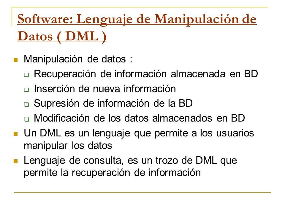 Software: Lenguaje de Manipulación de Datos ( DML ) Manipulación de datos : Recuperación de información almacenada en BD Inserción de nueva informació