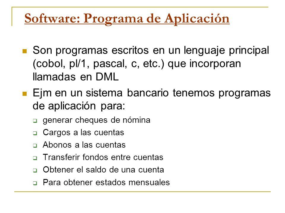 Software: Programa de Aplicación Son programas escritos en un lenguaje principal (cobol, pl/1, pascal, c, etc.) que incorporan llamadas en DML Ejm en