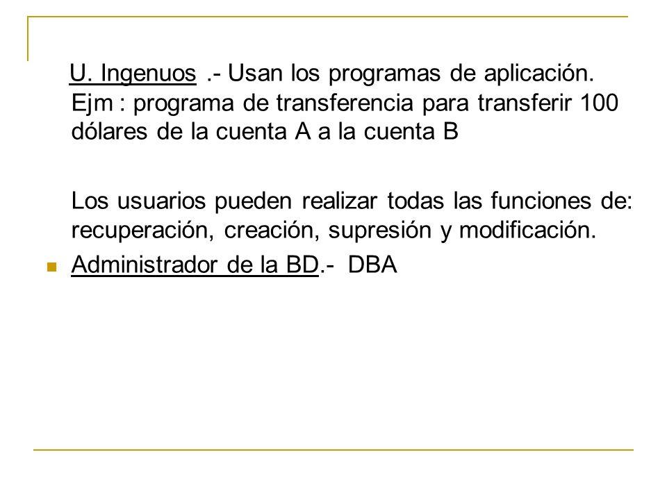 U. Ingenuos.- Usan los programas de aplicación. Ejm : programa de transferencia para transferir 100 dólares de la cuenta A a la cuenta B Los usuarios