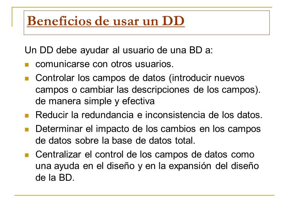 Beneficios de usar un DD Un DD debe ayudar al usuario de una BD a: comunicarse con otros usuarios. Controlar los campos de datos (introducir nuevos ca