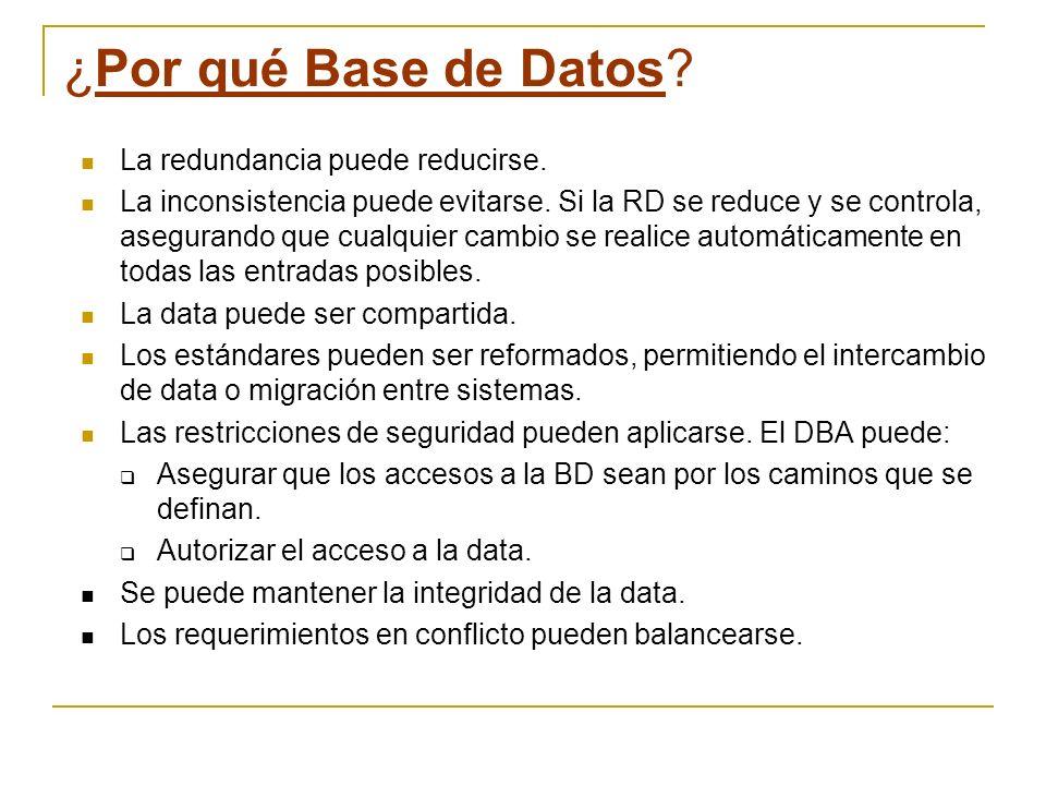 ¿Por qué Base de Datos? La redundancia puede reducirse. La inconsistencia puede evitarse. Si la RD se reduce y se controla, asegurando que cualquier c