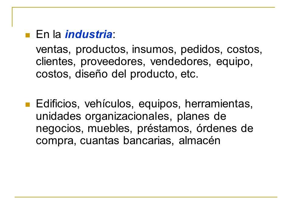 En la industria: ventas, productos, insumos, pedidos, costos, clientes, proveedores, vendedores, equipo, costos, diseño del producto, etc. Edificios,