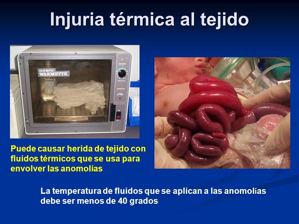 Injuria térmica al tejido é í Puede causar herida de tejido con fluidos térmicos que se usa para envolver las anomolías í La temperatura de fluidos que se aplican a las anomol í as debe ser menos de 40 grados