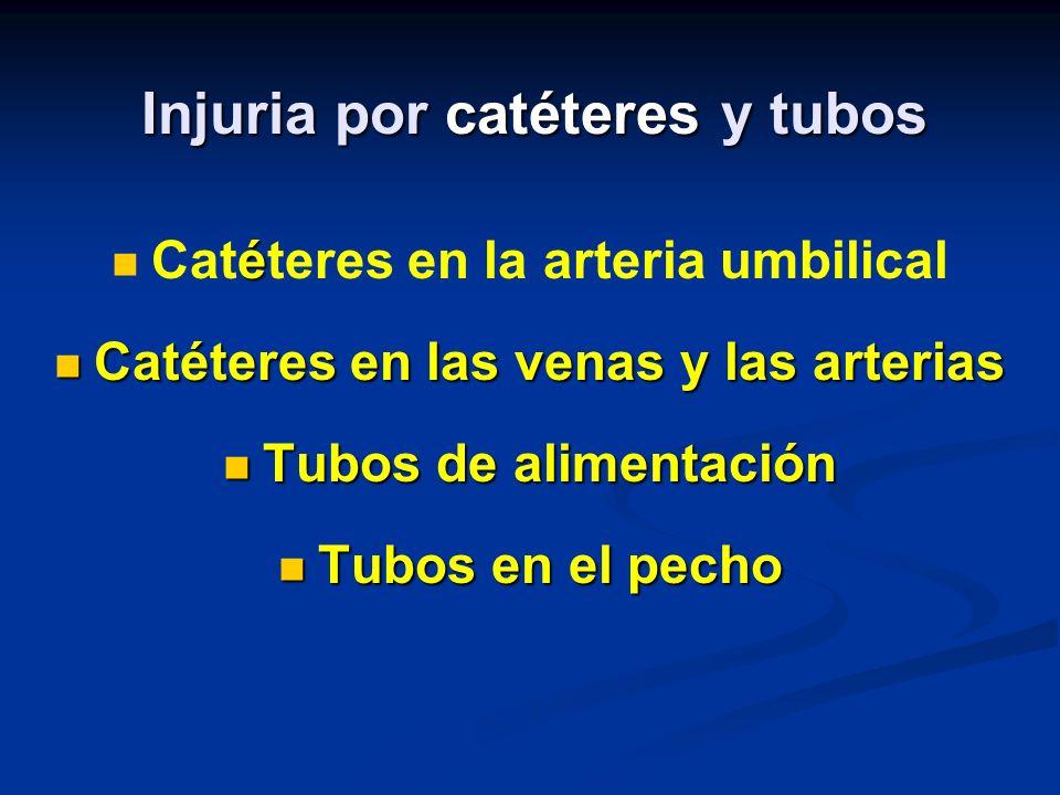 Injuria por catéteres y tubos é Catéteres en la arteria umbilical Catéteres en las venas y las arterias Catéteres en las venas y las arterias Tubos de alimentación Tubos de alimentación Tubos en el pecho Tubos en el pecho