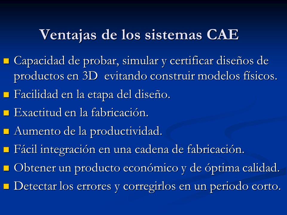 Ventajas de los sistemas CAE Capacidad de probar, simular y certificar diseños de productos en 3D evitando construir modelos físicos.