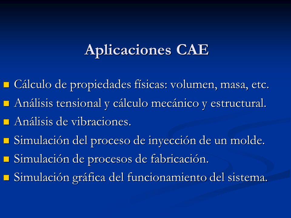 Aplicaciones CAE Cálculo de propiedades físicas: volumen, masa, etc.