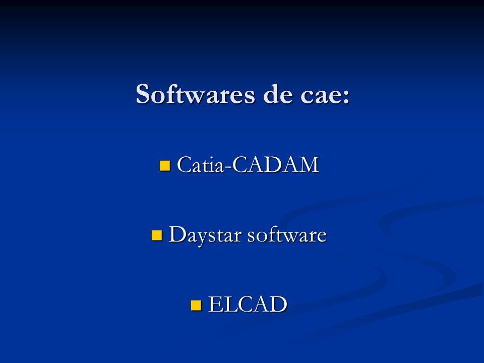 Softwares de cae: Catia-CADAM Catia-CADAM Daystar software Daystar software ELCAD ELCAD