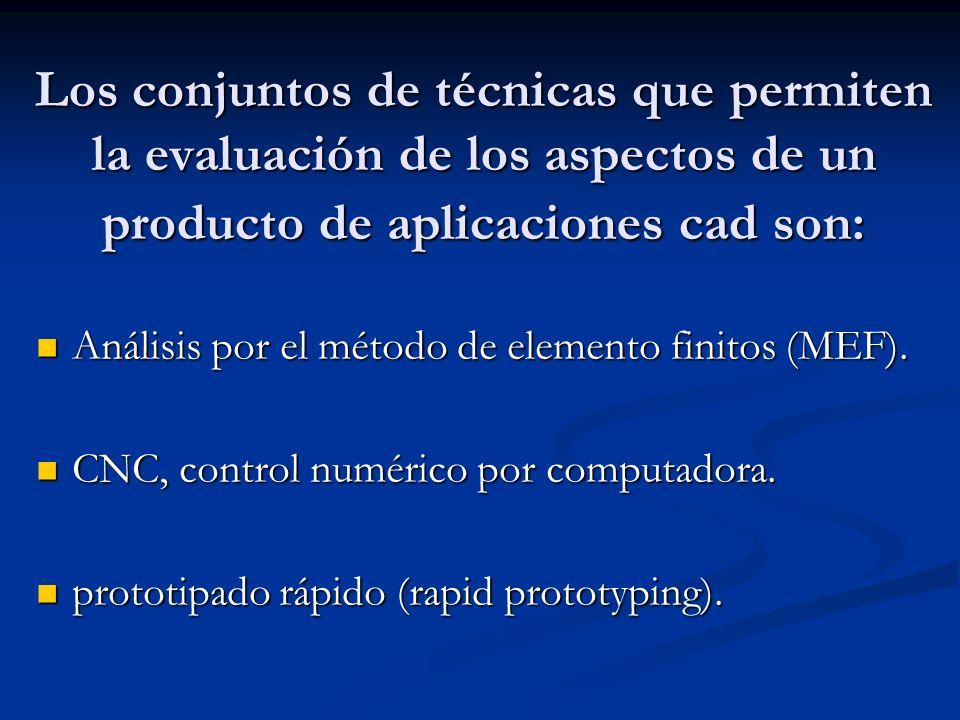 Los conjuntos de técnicas que permiten la evaluación de los aspectos de un producto de aplicaciones cad son: Análisis por el método de elemento finitos (MEF).