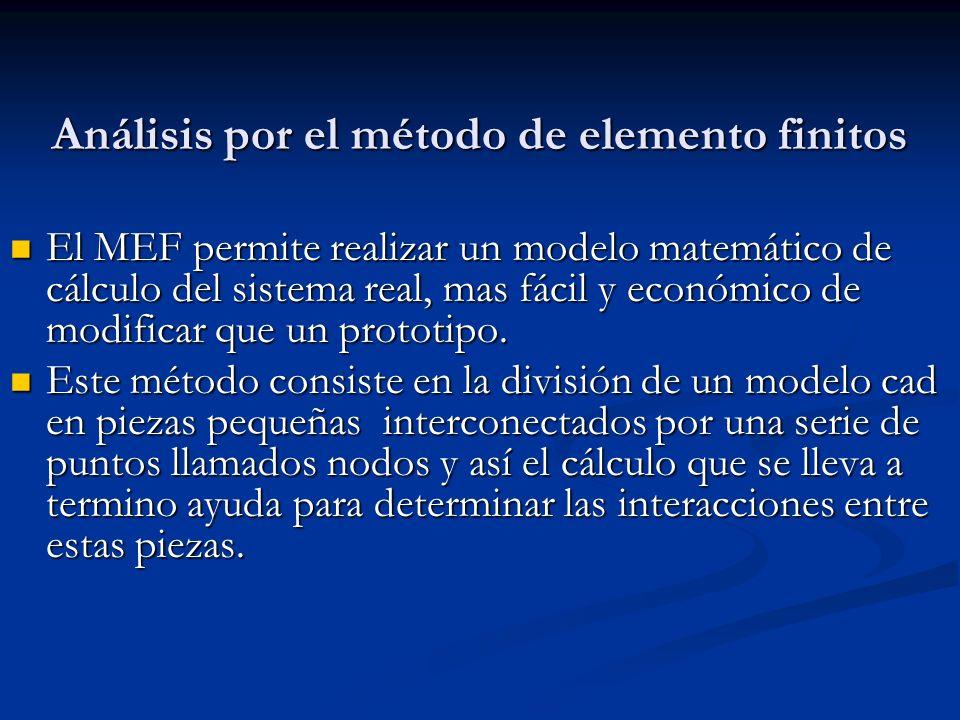 Análisis por el método de elemento finitos El MEF permite realizar un modelo matemático de cálculo del sistema real, mas fácil y económico de modificar que un prototipo.