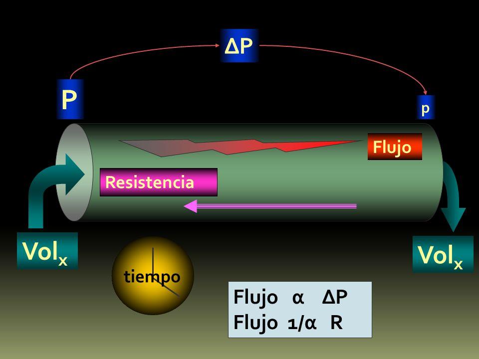 P P p Flujo Resistencia Vol x Flujo α P Flujo 1/α R tiempo