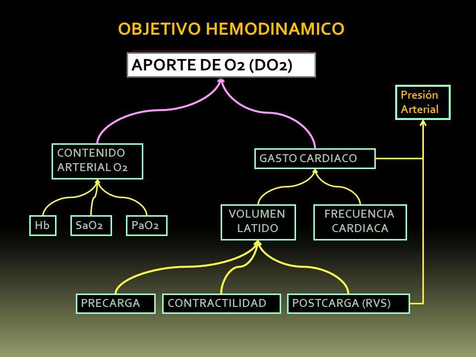 PRECARGAPOSTCARGA (RVS)CONTRACTILIDAD HbSaO2PaO2 VOLUMEN LATIDO FRECUENCIA CARDIACA GASTO CARDIACO CONTENIDO ARTERIAL O2 APORTE DE O2 (DO2) OBJETIVO H