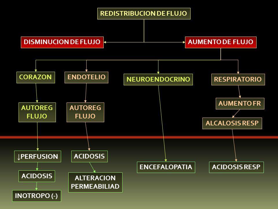 REDISTRIBUCION DE FLUJO DISMINUCION DE FLUJOAUMENTO DE FLUJO CORAZONENDOTELIO NEUROENDOCRINORESPIRATORIO PERFUSION ACIDOSIS INOTROPO (-) AUTOREG FLUJO