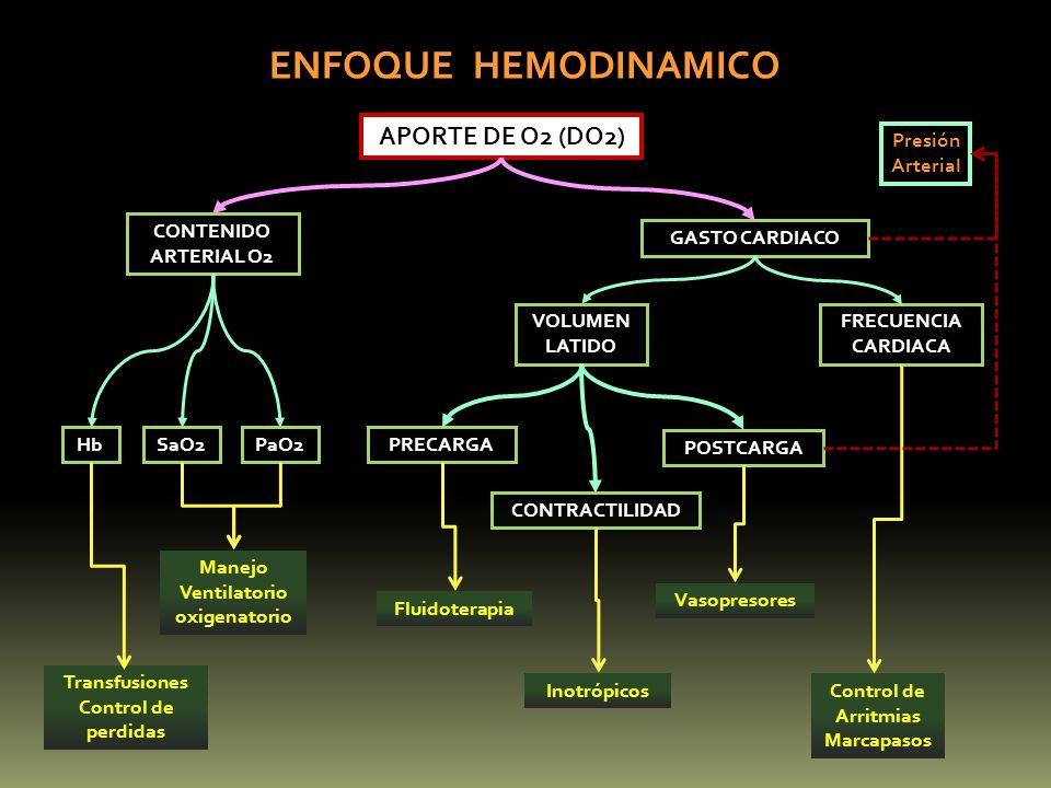 PRECARGA POSTCARGA CONTRACTILIDAD HbSaO2PaO2 VOLUMEN LATIDO FRECUENCIA CARDIACA GASTO CARDIACO CONTENIDO ARTERIAL O2 APORTE DE O2 (DO2) ENFOQUE HEMODI