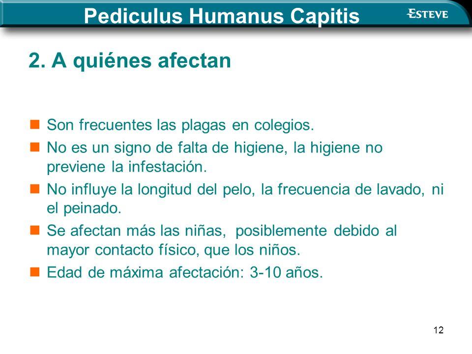 12 2. A quiénes afectan Son frecuentes las plagas en colegios. No es un signo de falta de higiene, la higiene no previene la infestación. No influye l