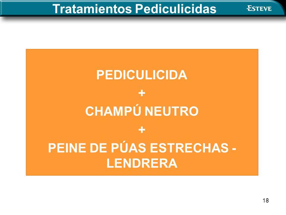 18 Tratamientos Pediculicidas PEDICULICIDA + CHAMPÚ NEUTRO + PEINE DE PÚAS ESTRECHAS - LENDRERA
