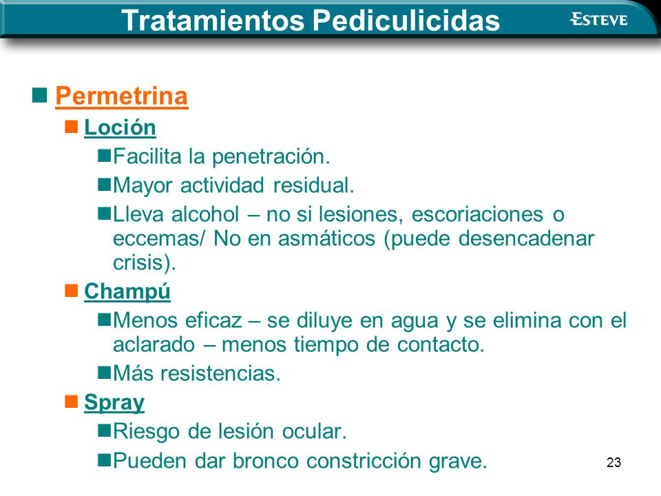 23 Permetrina Loción Facilita la penetración.Mayor actividad residual.