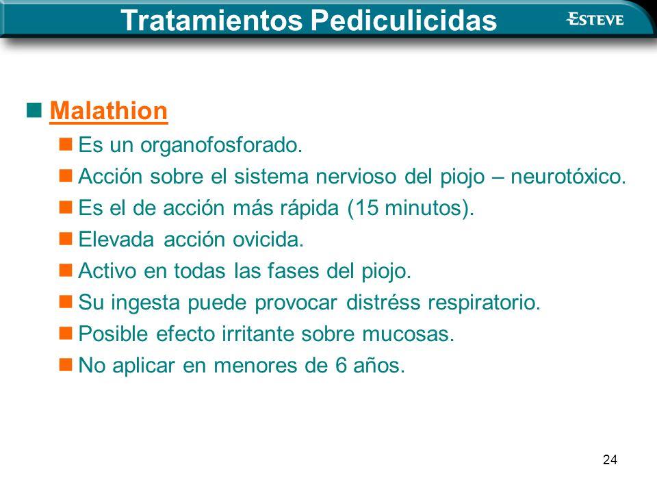 24 Malathion Es un organofosforado. Acción sobre el sistema nervioso del piojo – neurotóxico. Es el de acción más rápida (15 minutos). Elevada acción