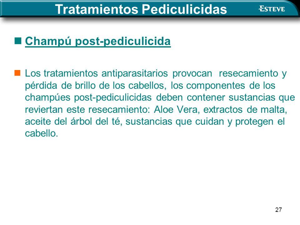 27 Champú post-pediculicida Los tratamientos antiparasitarios provocan resecamiento y pérdida de brillo de los cabellos, los componentes de los champú