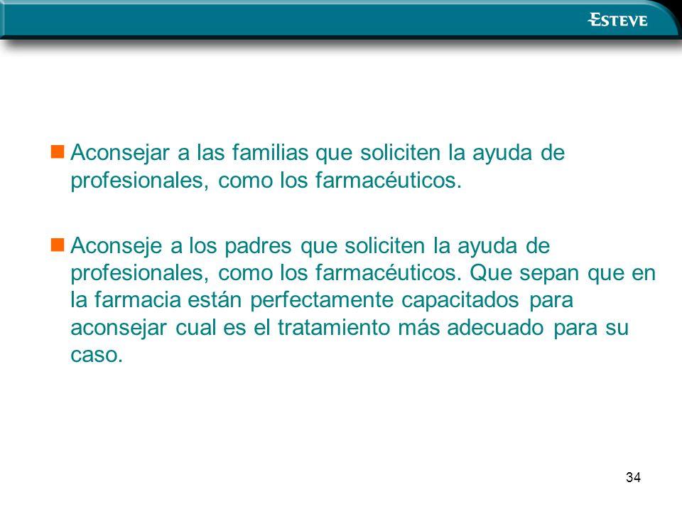 34 Aconsejar a las familias que soliciten la ayuda de profesionales, como los farmacéuticos.