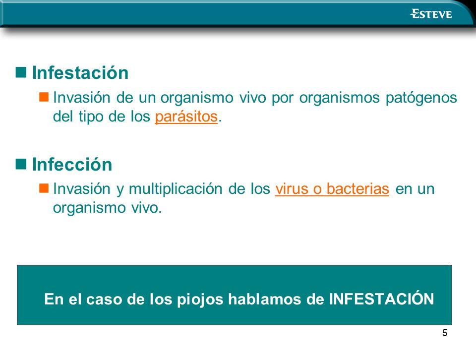 5 Infestación Invasión de un organismo vivo por organismos patógenos del tipo de los parásitos. Infección Invasión y multiplicación de los virus o bac