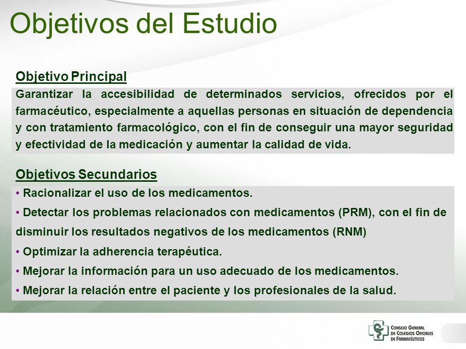 Objetivo Principal Garantizar la accesibilidad de determinados servicios, ofrecidos por el farmacéutico, especialmente a aquellas personas en situació