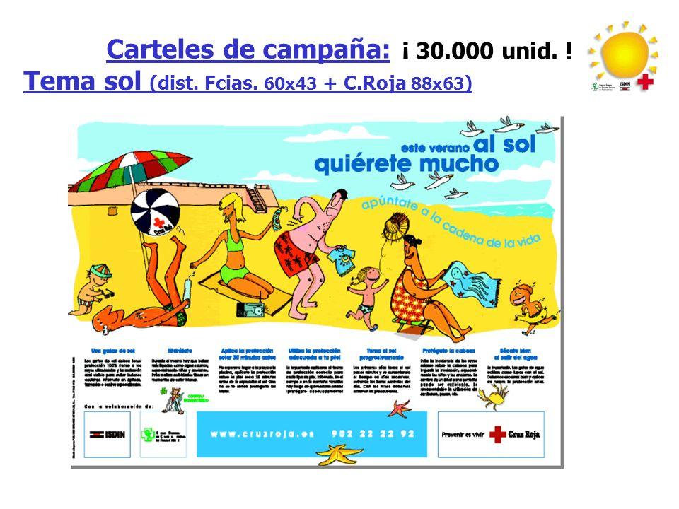 Carteles de campaña: Tema sol (dist. Fcias. 60x43 + C.Roja 88x63 ) ¡ 30.000 unid. !
