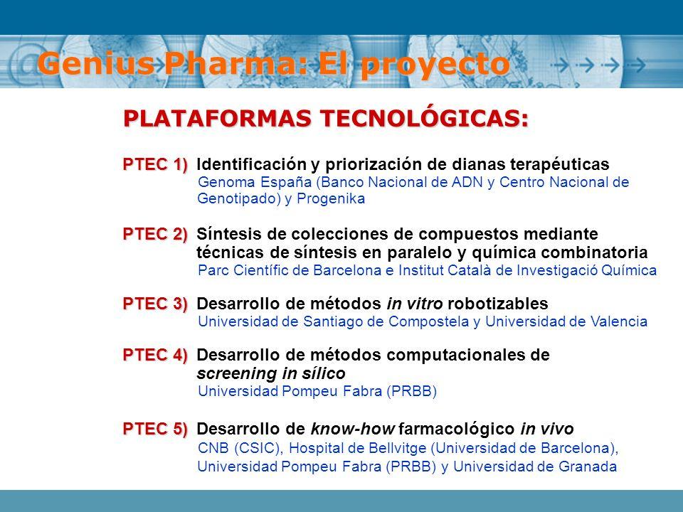 PLATAFORMAS TECNOLÓGICAS: PTEC 1) PTEC 1)Identificación y priorización de dianas terapéuticas Genoma España (Banco Nacional de ADN y Centro Nacional d