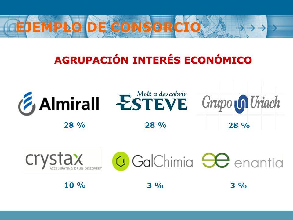 AGRUPACIÓN INTERÉS ECONÓMICO 28 % 10 % 3 % EJEMPLO DE CONSORCIO