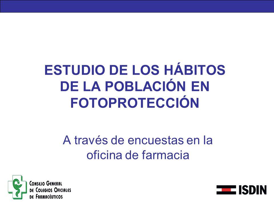 ESTUDIO DE LOS HÁBITOS DE LA POBLACIÓN EN FOTOPROTECCIÓN A través de encuestas en la oficina de farmacia