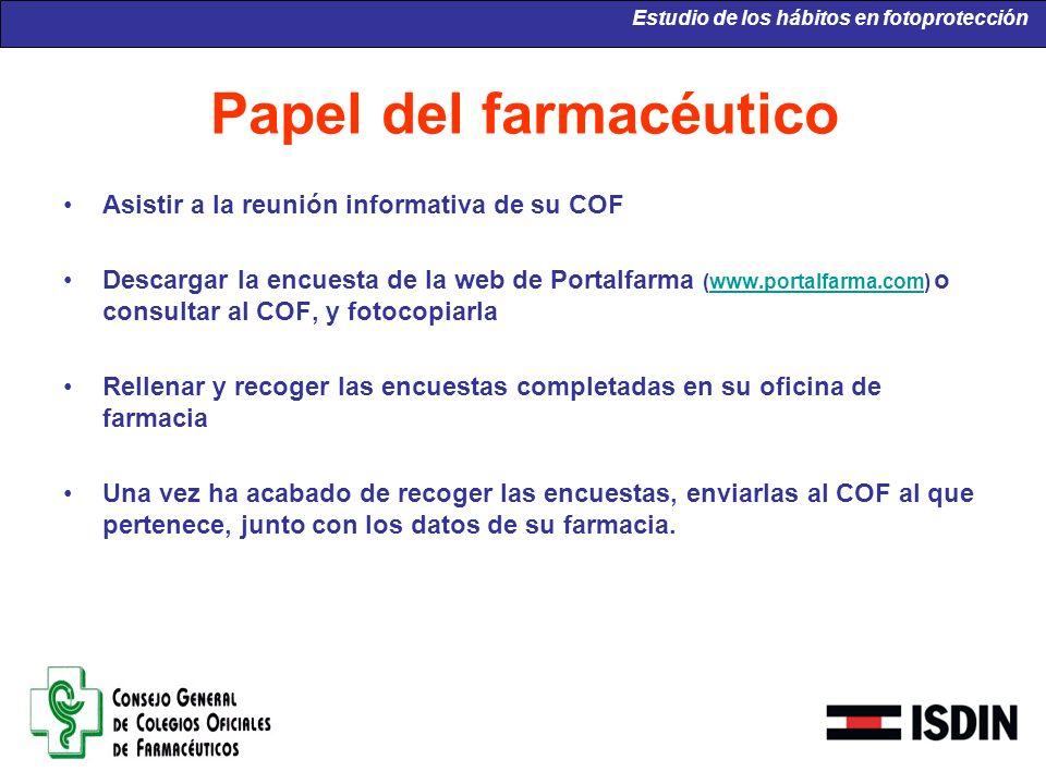 Papel del farmacéutico Asistir a la reunión informativa de su COF Descargar la encuesta de la web de Portalfarma (www.portalfarma.com) o consultar al