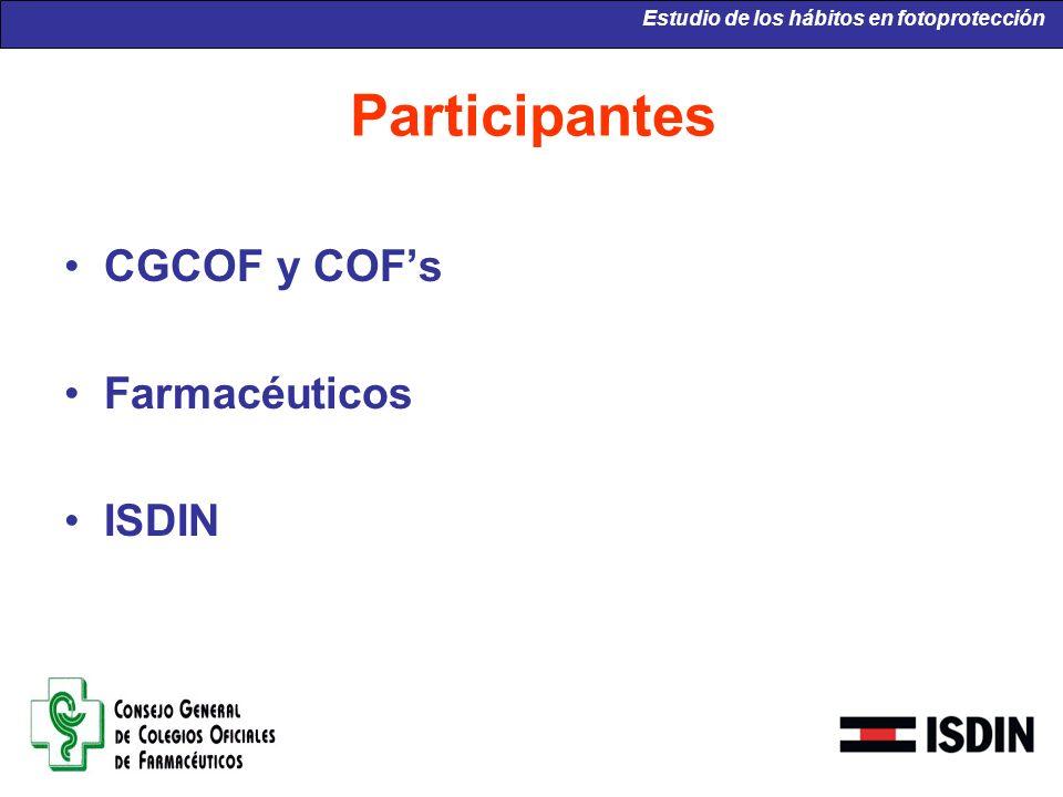 Participantes CGCOF y COFs Farmacéuticos ISDIN Estudio de los hábitos en fotoprotección