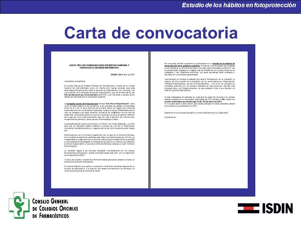 Carta de convocatoria Estudio de los hábitos en fotoprotección
