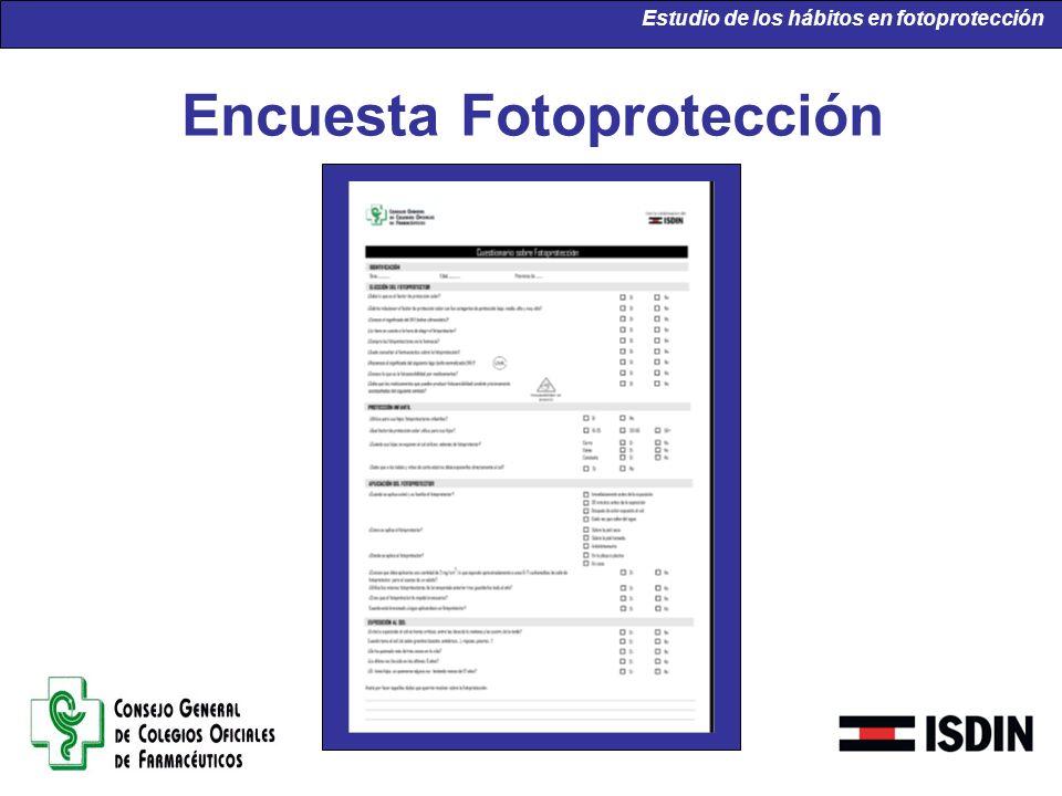Encuesta Fotoprotección Estudio de los hábitos en fotoprotección