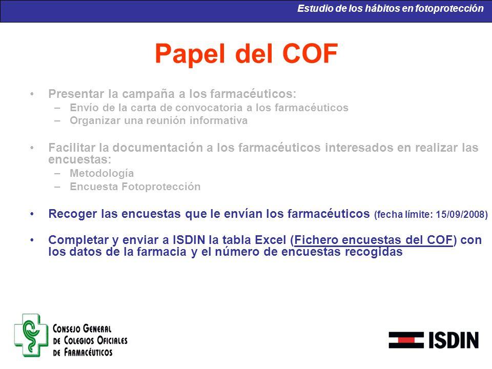 Papel del COF Presentar la campaña a los farmacéuticos: –Envío de la carta de convocatoria a los farmacéuticos –Organizar una reunión informativa Faci