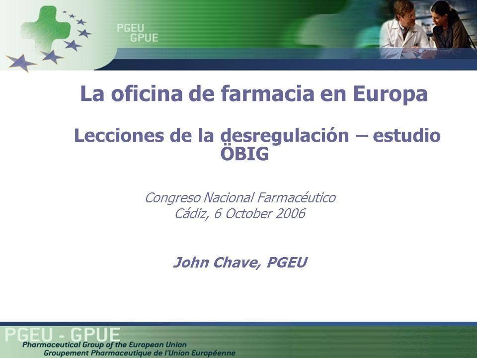Congreso Nacional Farmacéutico Cádiz, 6 October 2006 John Chave, PGEU La oficina de farmacia en Europa Lecciones de la desregulación – estudio ÖBIG