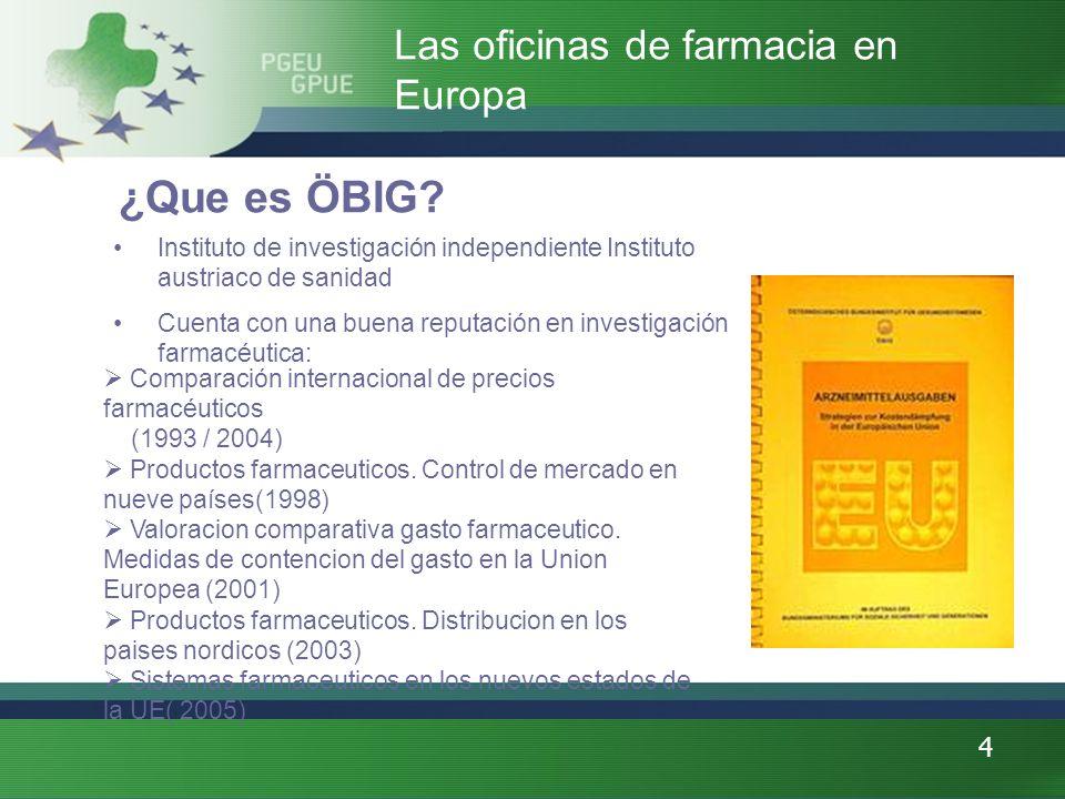 4 ¿Que es ÖBIG? Instituto de investigación independiente Instituto austriaco de sanidad Cuenta con una buena reputación en investigación farmacéutica: