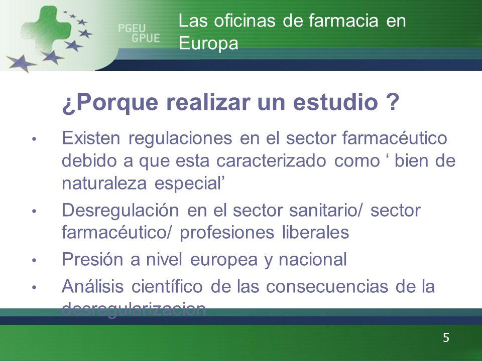 5 Las oficinas de farmacia en Europa ¿Porque realizar un estudio ? Existen regulaciones en el sector farmacéutico debido a que esta caracterizado como