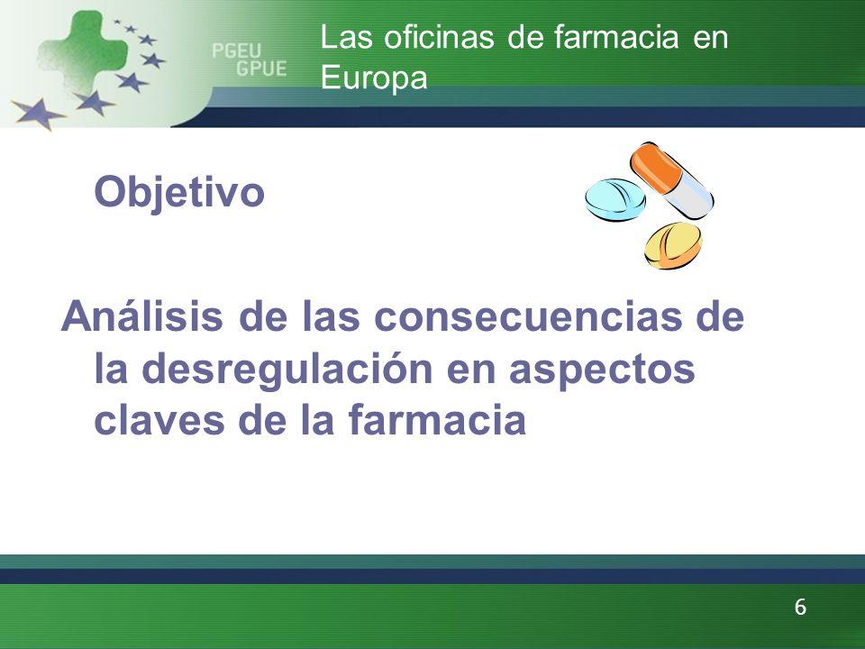 6 Objetivo Análisis de las consecuencias de la desregulación en aspectos claves de la farmacia Las oficinas de farmacia en Europa