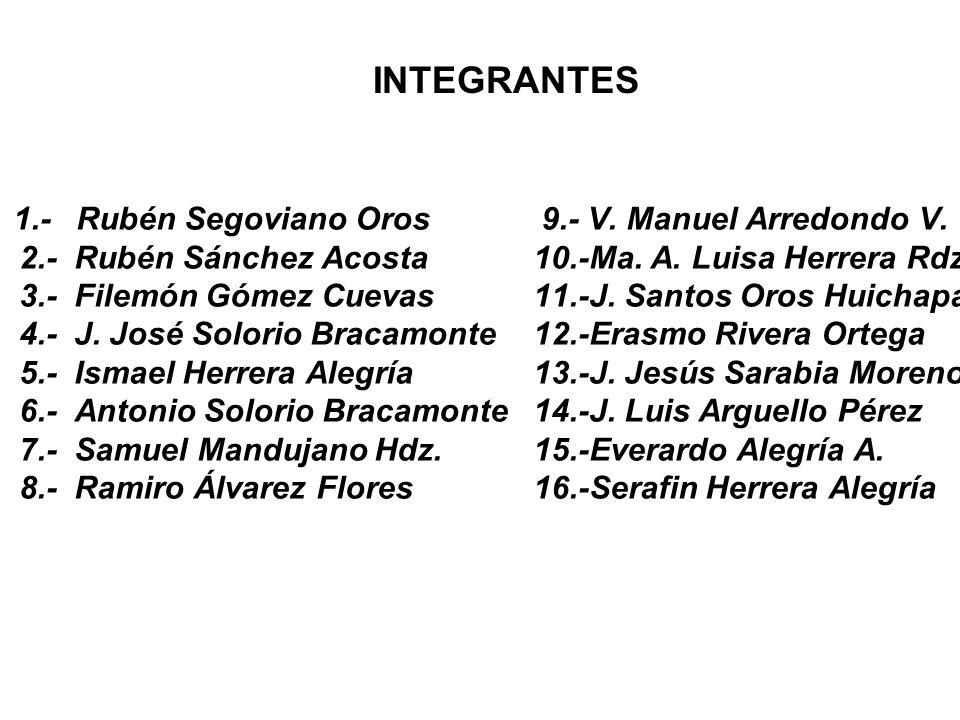 INTEGRANTES 1.- Rubén Segoviano Oros 2.- Rubén Sánchez Acosta 3.- Filemón Gómez Cuevas 4.- J. José Solorio Bracamonte 5.- Ismael Herrera Alegría 6.- A