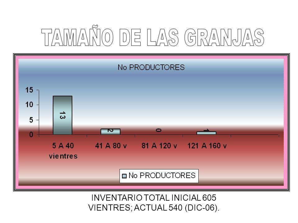 INVENTARIO TOTAL INICIAL 605 VIENTRES; ACTUAL 540 (DIC-06).