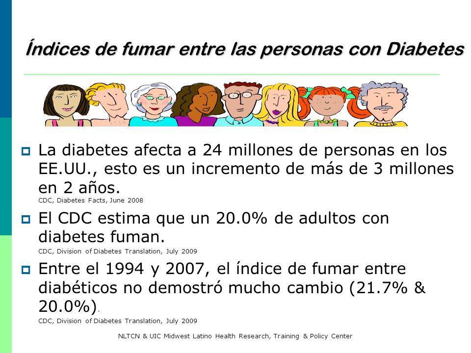 Índices de fumar entre las personas con Diabetes La diabetes afecta a 24 millones de personas en los EE.UU., esto es un incremento de más de 3 millone