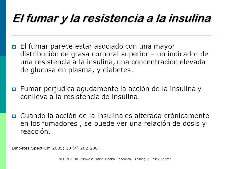 El fumar y la resistencia a la insulina El fumar parece estar asociado con una mayor distribución de grasa corporal superior – un indicador de una res