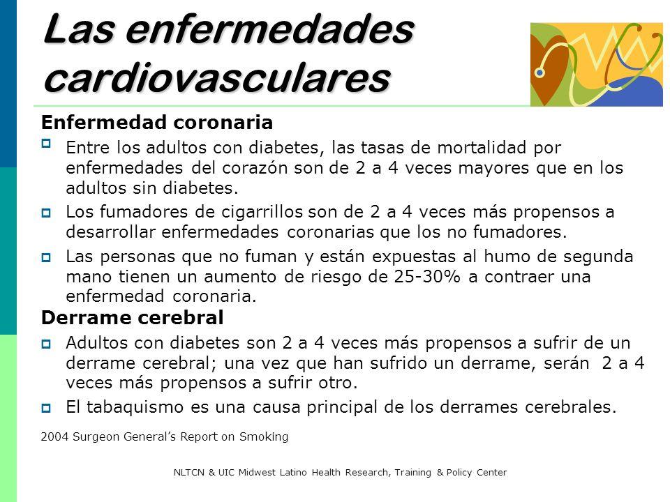 Las enfermedades cardiovasculares Enfermedad coronaria Entre los adultos con diabetes, las tasas de mortalidad por enfermedades del corazón son de 2 a