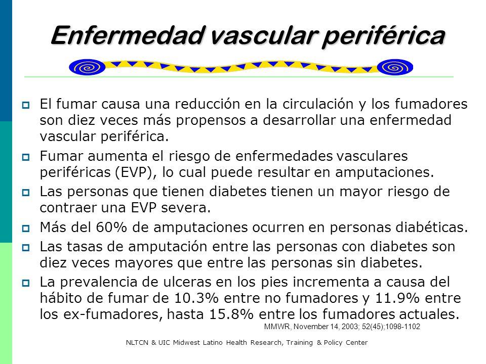 Enfermedad vascular periférica Enfermedad vascular periférica El fumar causa una reducción en la circulación y los fumadores son diez veces más propen