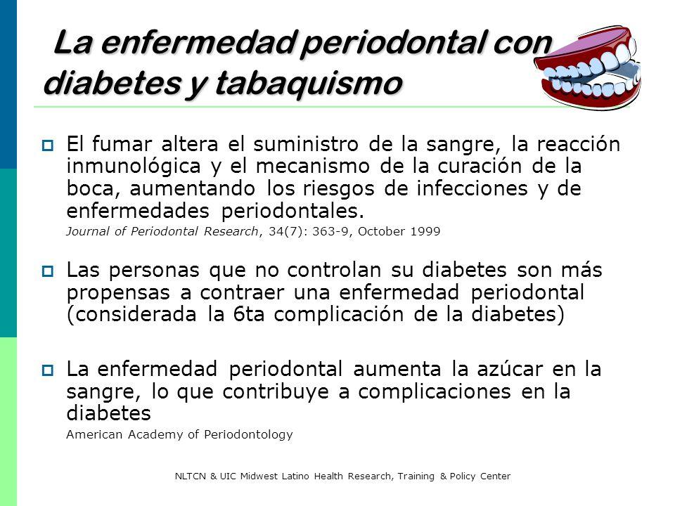 La enfermedad periodontal con diabetes y tabaquismo El fumar altera el suministro de la sangre, la reacción inmunológica y el mecanismo de la curación