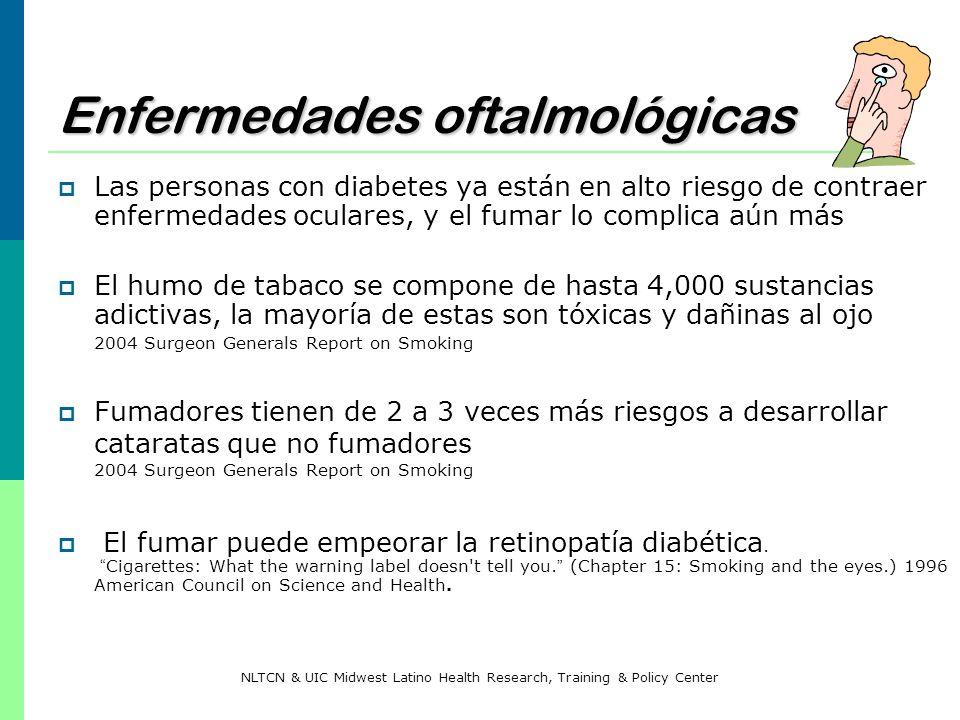 Enfermedades oftalmológicas Las personas con diabetes ya están en alto riesgo de contraer enfermedades oculares, y el fumar lo complica aún más El hum