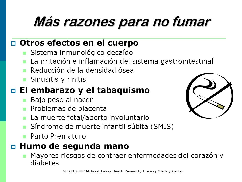 Más razones para no fumar Otros efectos en el cuerpo Sistema inmunológico decaído La irritación e inflamación del sistema gastrointestinal Reducción d