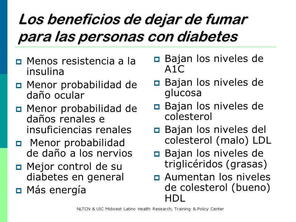 Los beneficios de dejar de fumar para las personas con diabetes Menos resistencia a la insulina Menor probabilidad de daño ocular Menor probabilidad d