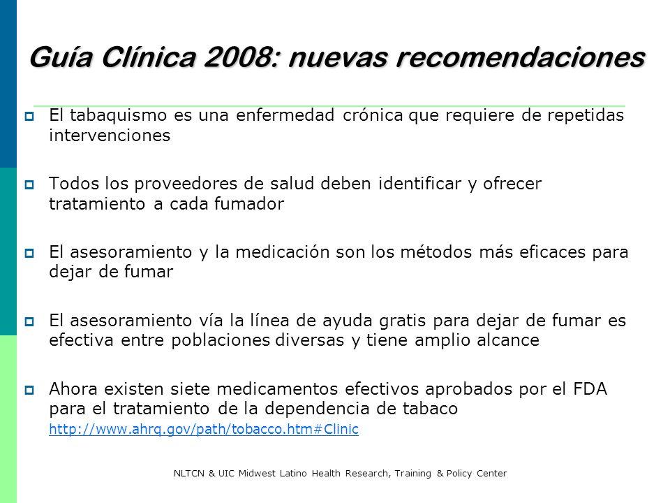 Guía Clínica 2008: nuevas recomendaciones El tabaquismo es una enfermedad crónica que requiere de repetidas intervenciones Todos los proveedores de sa