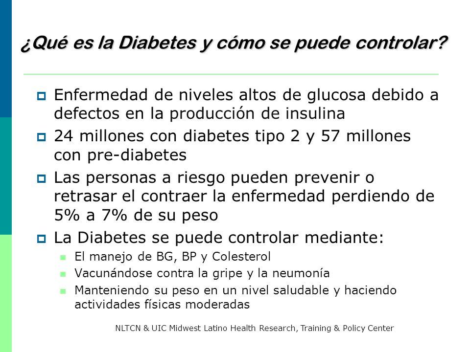 Los beneficios de dejar de fumar para las personas con diabetes Menos resistencia a la insulina Menor probabilidad de daño ocular Menor probabilidad de daños renales e insuficiencias renales Menor probabilidad de daño a los nervios Mejor control de su diabetes en general Más energía Bajan los niveles de A1C Bajan los niveles de glucosa Bajan los niveles de colesterol Bajan los niveles del colesterol (malo) LDL Bajan los niveles de triglicéridos (grasas) Aumentan los niveles de colesterol (bueno) HDL NLTCN & UIC Midwest Latino Health Research, Training & Policy Center
